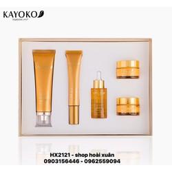 Bộ mỹ phẩm Kayoko Snowy gloss white màu vàng trị nám da chuyên sâu 5 in 1 hàng cao cấp - HX2121