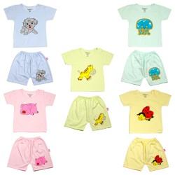 NGON ! BỔ ! RẺ ! 1 Bộ quần áo cộc tay QUẦN IN MÔNG, áo cúc cài vai LOẠI ĐẸP cho bé từ 4-14kg, bộ quần áo mùa hè cho bé