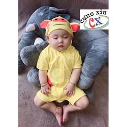 Quần áo trẻ em hình Heo vàng cotton tay ngắn và dài nón liền.