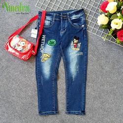 Quần jean dài vải co giãn lưng thun cho bé gái 15-25kg - Ninedra