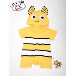 Quần áo trẻ em hình Cá Nemo cotton tay dài và tay ngắn nón liền.