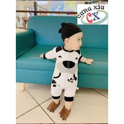 Quần áo trẻ em hình Cún cotton tay dài nón rời.