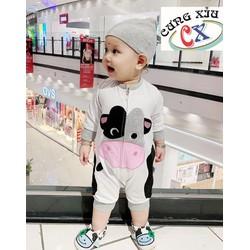Quần áo trẻ em hình Bò con cotton tay dài nón rời.