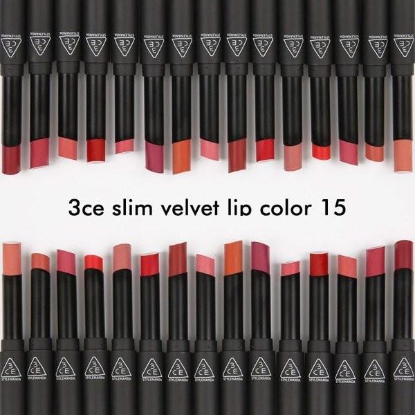 3CE Slim Velvet Lip Color bảng màu