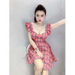 Đầm caro cánh tiên kèm mút ngực thời trang Esther Fashion