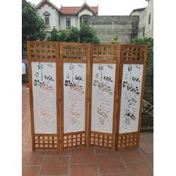 Bình phong gỗ ô vuông tranh CNC Hoa Sen