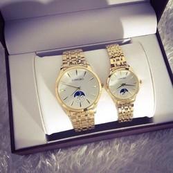 [Tặng hộp + pin dự phòng] Đồng hồ đôi Nam Nữ LongBo mặt trắng cao cấp Kèm giấy BH