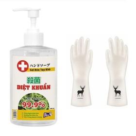 Nước rửa tay khô diệt khuẩn Mr. Fresh 500ml - dạng gel tặng kèm găng tay cao su siêu dai con hươu - BH0721