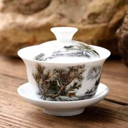 Chén trà có nắp kiểu cổ Trung Quốc sơn thủy