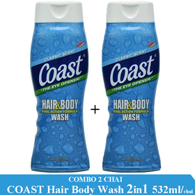 Combo 2 Chai Sữa tắm gội toàn thân Coast Hair And Body Wash 532ml-chai - 2 CHAI COAST 532ml