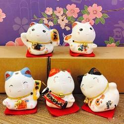 Bộ 5 Chú Mèo Thần Tài May Mắn Mini Siêu Đáng Yêu
