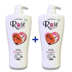 Combo 2 chai Sữa Tắm Dê Rose 8x Cao Cấp xuất Bungari Chai Khổng Lồ 1200ml x 2 chai, HSD đến tháng 09-2022 - 2 chai rose