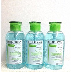 Nước Tẩy trang Bioderma Sebium xanh 500ml nắp ấn mẫu mới date còn 6 tháng chính hãng