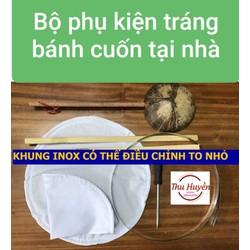 Bộ đai inox+que lấy bánh+ vải căng+gáo dừa làm bánh cuốn