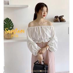 Áo croptop nữ tay dài bo eo