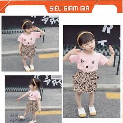 [NHẬP SD189D GIẢM 20K ] Set áo mèo + chân váy xinh xắn dành cho bé gái 1-5 tuổi. Chất vải đẹp, mềm mịn, thoáng mát