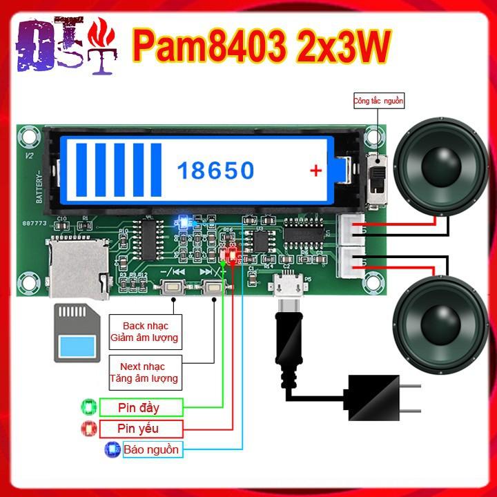 Mạch khuếch đại âm thanh Pam 8403 giải mã thẻ nhớ sử dụng Pin sạc 18650