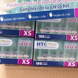 Găng tay y tế cao su Latex có bột HTC glove hộp 100 chiếc