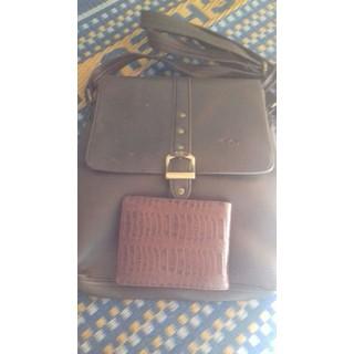 (TẶNG LON PEPSI VỊ CHANH ĐƠN 15K BẤT KỲ)BỘ ví và túi đeo chéo da bò thật mekong - túi và ví da thumbnail