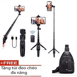 GẬY SELFIE CHỤP ẢNH CARBON TITANIUM BLUETOOTH 4.0 tặng túi chéo da  - gậy selfie 4.0 - Super Market