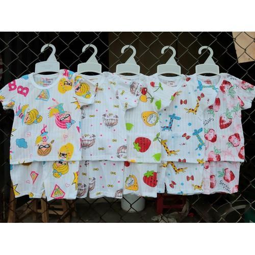 combo 5 bộ cotton giấy tay ngắn tặng kèm 2 quần cotton bé
