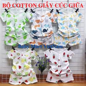 Bộ cộc cotton giấy-bộ cộc cotton giấy cúc giữa cho bé-Set 5 bộ - bộ cộc cotton giấy