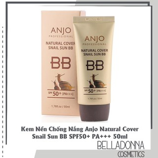 Kem Nền Chống Nắng Anjo Natural Cover Snail Sun BB SPF50+ PA+++ 50ml - Chính Hãng Hàn Quốc - KNCN9415 thumbnail