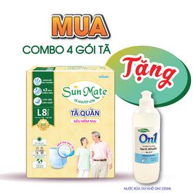 [Tặng gel rửa tay kháng khuẩn] Combo 4 gói tã quần Sunmate size M9 _ size L8 siêu mềm mại - SM-G