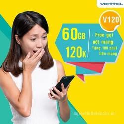 Sim 4G VIETTEL V120 Có 60GB 1 Tháng, 1 Tỷ Phút Gọi Nội Mạng Miễn Phí - Sim Viettel V120