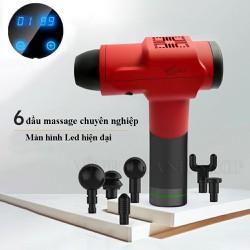 Máy Massage Cầm Tay Không Dây Màn Hình Led, Súng Massage 6 Đầu Rung, 6 Chế Độ Rung