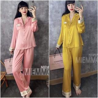 Bộ Pijama Lụa Tay Dài In chữ Cao Cấp - BPTDIC thumbnail