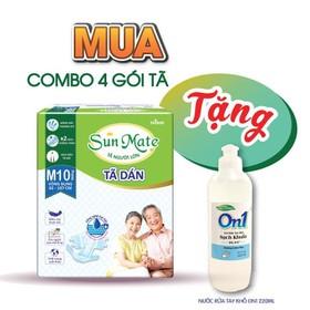 [Tặng 1 gel rửa tay sạch khuẩn] Combo 4 gói tã dán người lớn Sunmate size M10 - M10-4