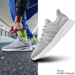 Giày chạy bộ Anta R 5586 Trắng ghi đi nhẹ êm vải mềm da chống nước bảo hành 2 tháng đổi mới trong 7 ng