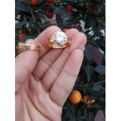 nhẫn kim tiền mặt đính đá nhân tạo bền màu