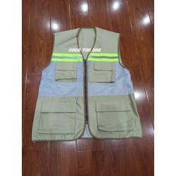 Giảm giá đặc biệt - Áo ghi lê 1 kéo 4 túi màu ghi xám có phản quang - hình thật - hàng sẵn