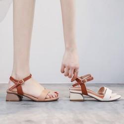 Giày sandal gót vuông 3 phân cực xinh 2 màu trắng- kem