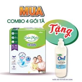 [Tặng 1 gel rửa tay kháng khuẩn] Combo 4 gói tã dán người lớn Sunmate size XL10 - XL10-4