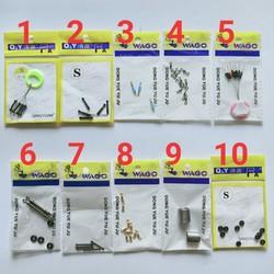 combo 3 gói phụ kiện câu đài tùy chọn-phụ kiện câu đài đủ loại-thanh quấn chì,chì lá,mani hở,khóa link,chặn phao,rim phao,giảm sốc,vòng cao su