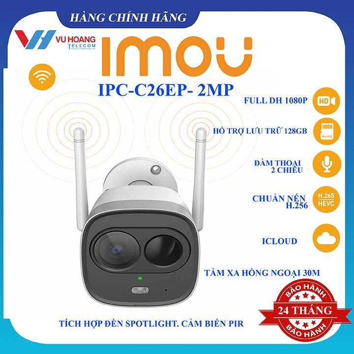 Camera IP Ngoài Trời Wifi 2.0MP IPC-G26EP-IMOU Angten kép và MIMO chống nhiễu