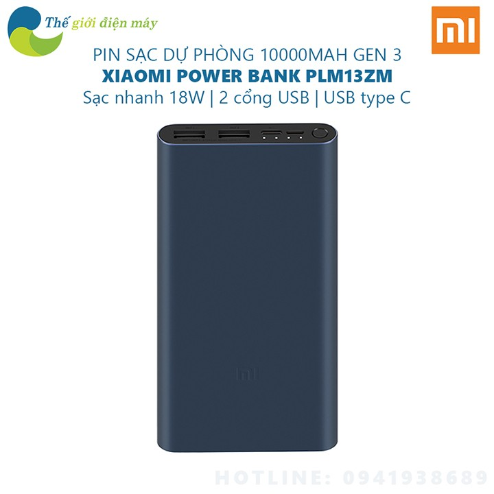 Sạc dự phòng Xiaomi  Gen 3 10000mAh PLM13ZM sạc nhanh 18W - Bảo hành 6 tháng