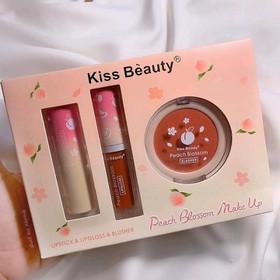 bộ trang điểm set Kiss Beauty 3 món Peach Blossom - set Kiss Beauty 3 món