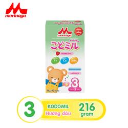 Sữa Morinaga số 3 Kodomil Hương dâu hộp 216g- cho bé từ 3 tuổi trở lên