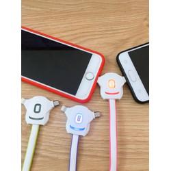 Cáp sạc đa năng 2in1 Micro Usb - Iphone có đèn led thông báo Pin sạc đầy