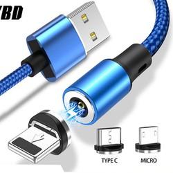 [Sales Khủng] Bộ Dây Sạc Cáp Nam Châm Từ Tính Tốc Độ 2.4A 3 Đầu Chân YBD Cổng USB Type C Dùng Cho các Loại Điện Thoại, Máy Tính Bảng Chiều Dài 1M Đến 2M