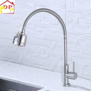 Vòi đơn lạnh chậu rửa bát inox 304 cần mềm hai chế độ nước VRB907 tăng dây cấp nước inox - G25P0bvwF1 thumbnail