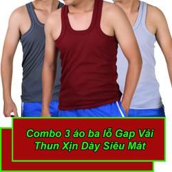 [Combo 3] Áo Thun 3 Lỗ Nam Thun Loại 1 Vải Dày Mát Size 50-70kg