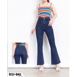 Quần jean nữ ống bass lưng tưa màu xanh đậm co giãn tôn dáng siêu chuẩn