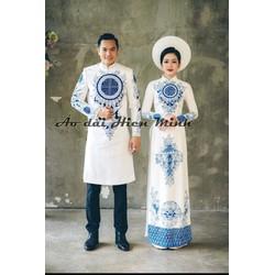 Áo dài cưới đôi cao cấp màu trắng họa tiết vẽ tay
