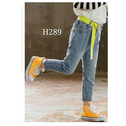Quần jeans mềm co giãn kèm thắt lưng