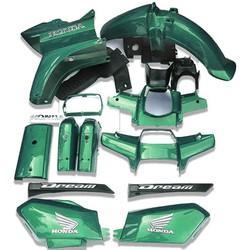 Dàn áo xe HONDA-DREAM màu Heniken, chất liệu nhựa ABS nguyên sinh FULL phụ kện